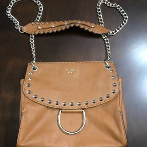 Guess Tan leather gold studded shoulder purse